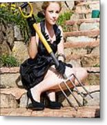Woman Holding Pitchfork Metal Print