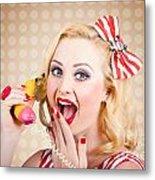 Woman On Banana Telephone. Health Eating News Metal Print