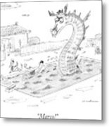Woman Speaks To Man In A Pool With The Lochness Metal Print