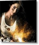 Woman With Angle Grinder Spraying Sparks Metal Print