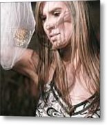 Woman With Butterfly In Net Metal Print