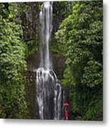 Woman With Umbrella At Wailua Falls Metal Print