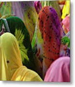 Women In Colorful Saris Gather Metal Print
