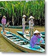 Women Waiting For Passengers On Mekong River Canal-vietnam Metal Print