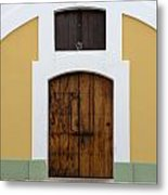 Wooden Door At El Morro Historical Site Metal Print