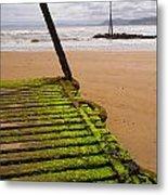 Wooden Slipway Rhos On Sea Metal Print