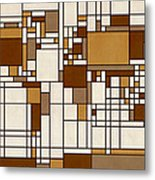 World Map Abstract Mondrian Style Metal Print by Michael Tompsett