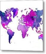 World Map Watercolor Metal Print