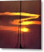 Yacht At Sunset Metal Print