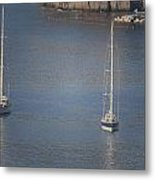 Abstract Yachts At Rest Sorrento Metal Print