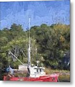 York Harbor Maine Painterly Effect Metal Print
