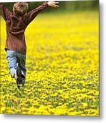 Young Boy Running Through Field Of Metal Print