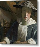 Young Girl With A Flute Metal Print