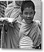 Young Monks Bw Metal Print