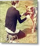 Young Woman In 20s Playing Fetch With Her Dog Metal Print