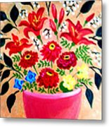 Zinnias And Lilies Metal Print