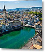 Zurich From The Grossmunster Metal Print