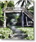An Old Stone Bridge Over A Canal Metal Print