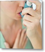 Asthma Inhaler Use Metal Print
