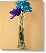 Daisies In A Vase On Shelf Metal Print