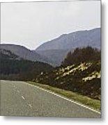 Highway Running Through The Wilderness Of The Scottish Highlands Metal Print
