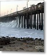 Ocean Wave Storm Pier Metal Print