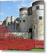 Remembrance Poppies At The Tower Of London Metal Print