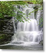 Stunning Waterfall Flowing Over Rocks Through Lush Green Forest  Metal Print