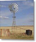 Australia - Windmill In The Wheat Field Metal Print