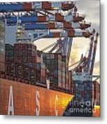 Hamburg Harbor Container Terminal Metal Print