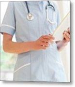 Nurse Using A Tablet Computer Metal Print