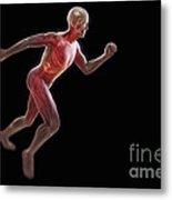 Running Male Figure Metal Print
