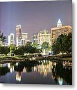 Skyline Of Uptown Charlotte North Carolina At Night Metal Print
