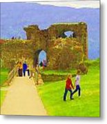 Tourists And The Path At Ruins Of The Urquhart Castle Metal Print
