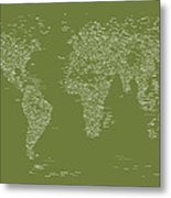 World Map Of Cities Metal Print