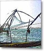 Fishing Nets On The Sea Coast In Alleppey Metal Print