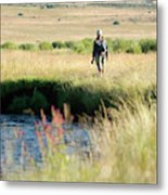 Young Woman Fly Fishing The West Fork Metal Print