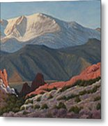 120402-1836 Pikes Peak From The Garden Of The Gods Metal Print