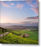 Beautiful English Countryside Landscape Over Rolling Hills Metal Print by Matthew Gibson