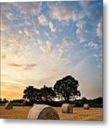 Stunning Summer Landscape Of Hay Bales In Field At Sunset Metal Print