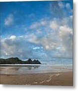 Stunning Sunrise Landscape Over Three Cliffs Bay In Wales Metal Print