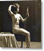 Vintage Nude Postcard Image Metal Print