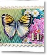 14 Cent Butterfly Stamp Metal Print