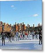 Ice Skating At Hampton Court Palace Ice Rink England Uk Metal Print