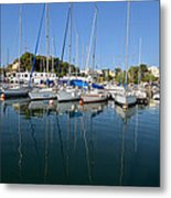 Reflections In Mikrolimano Port Metal Print