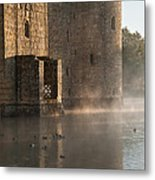 Stunning Moat And Castle In Autumn Fall Sunrise With Mist Over M Metal Print