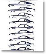 American Stallion Silhouettehistory Blue Metal Print