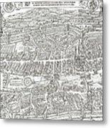 1576 Zurich Switzerland Map Metal Print