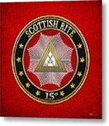 15th Degree - Knight Of The East Jewel On Red Leather Metal Print