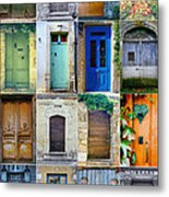 16 Doors In France Collage Metal Print by Georgia Fowler